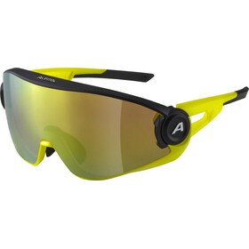Alpina 5W1NG Q+CM Glasses, black matt/neon yellow